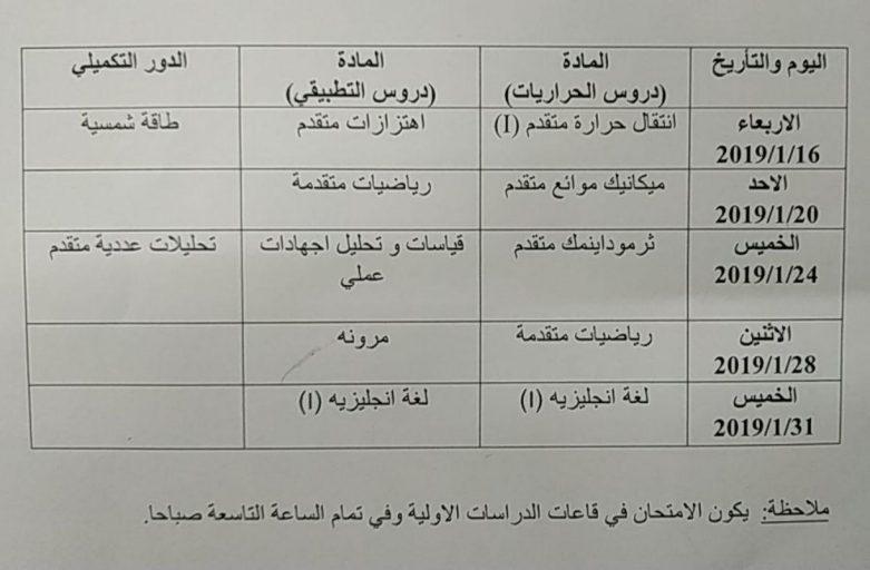 جدول الامتحانات للفصل الدراسي الاول  لطلبة الماجستير  لقسم الهندسة الميكانيكية للعام الدراسي 2018-2019